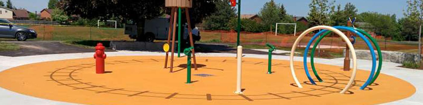 A playground after resurfacing in Toronto, ON